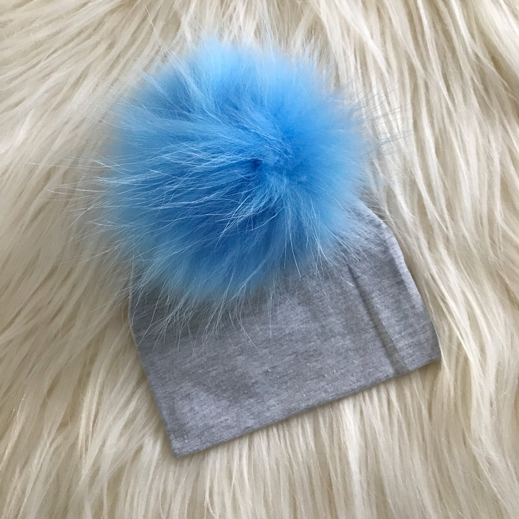 Heather Gray Hat Light Blue Pompom - The Gifted Baby NY
