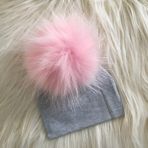 Heather Gray Hat Baby Pink Pompom - The Gifted Baby NY