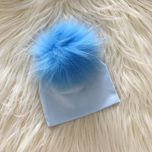 Light Blue Hat Baby Blue Pompom - The Gifted Baby NY