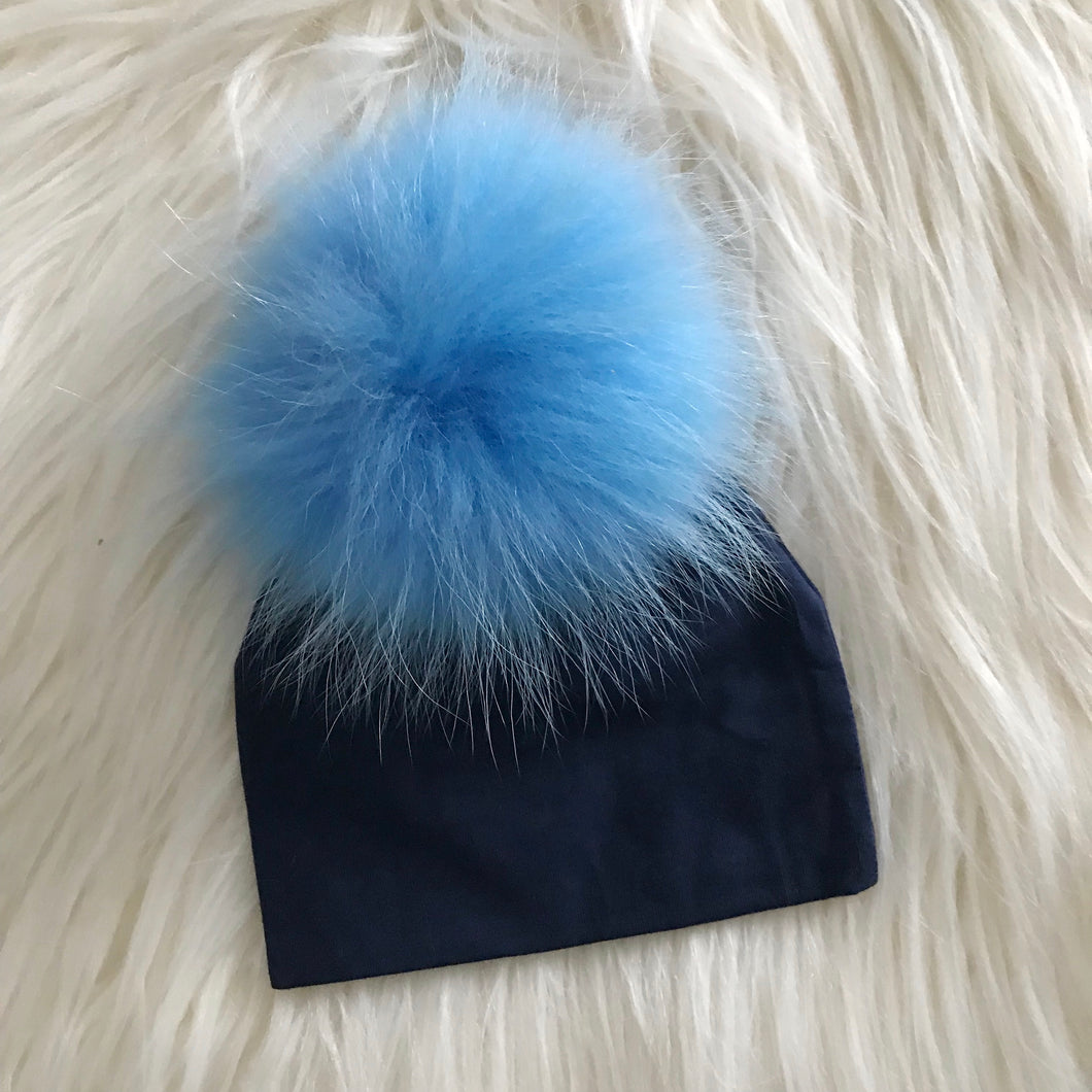 Navy Hat Light Blue Pompom - The Gifted Baby NY