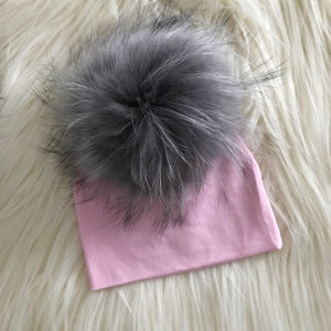 Pink Hat Light Gray Pompom - The Gifted Baby NY
