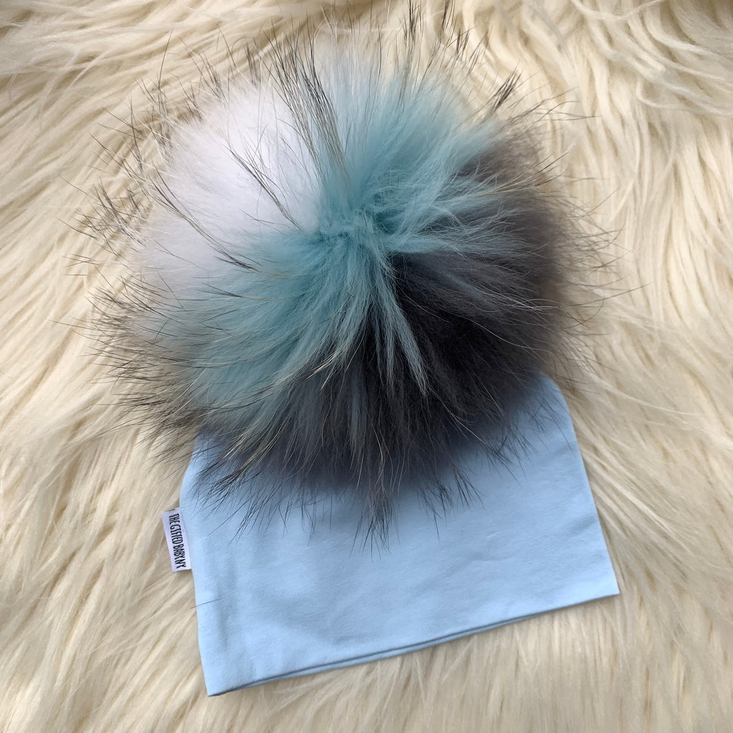 Light Blue Hat White/Gray/Light Blue Pompom - The Gifted Baby NY