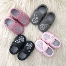 Load image into Gallery viewer, Gray Butterfly Moccs - The Gifted Baby NY