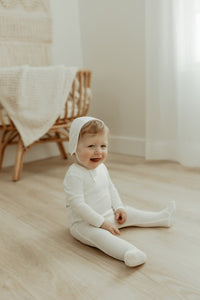 Bee & Dee Ribbed Ivory Onesie + Bonnet