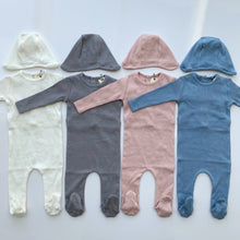 Load image into Gallery viewer, Bee & Dee Ribbed Gray Onesie + Bonnet