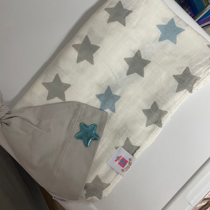 Blue Star Muslin Swaddle Set