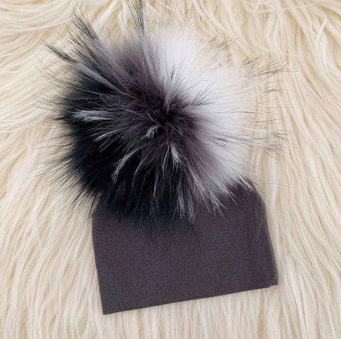 Dark Gray Hat Black/Gray/White Pompom - The Gifted Baby NY