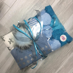 Blue Ombré Pompom Blanket - The Gifted Baby NY
