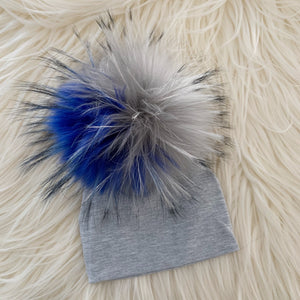 Heather Gray Hat Bright Blue/Gray/White Pompom - The Gifted Baby NY