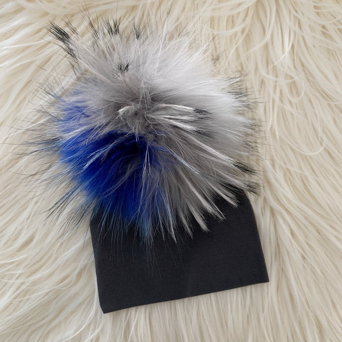 Dark Gray Hat Bright Blue/Gray/White Pompom - The Gifted Baby NY
