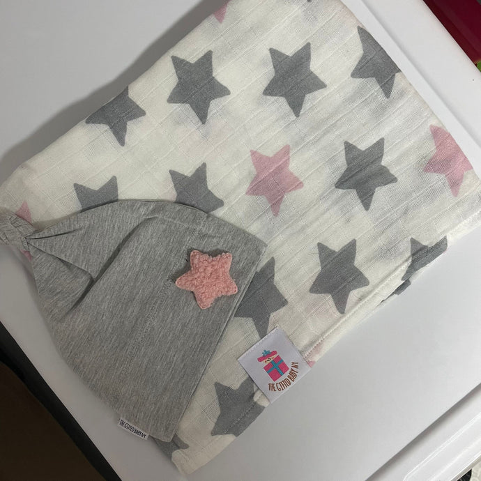 Pink Star Muslin Swaddle Set