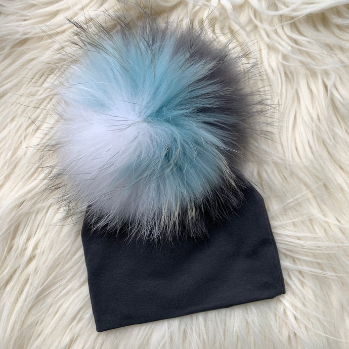 Dark Gray Hat Light Blue/Gray/White Pompom - The Gifted Baby NY