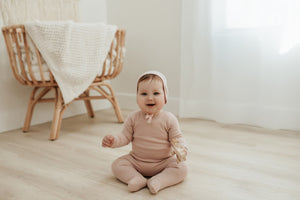 Bee & Dee Ribbed Blush Onesie + Bonnet