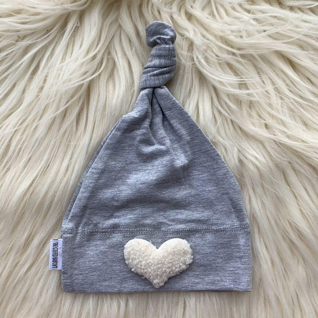 Heather Hat White Fuzzy Heart - The Gifted Baby NY