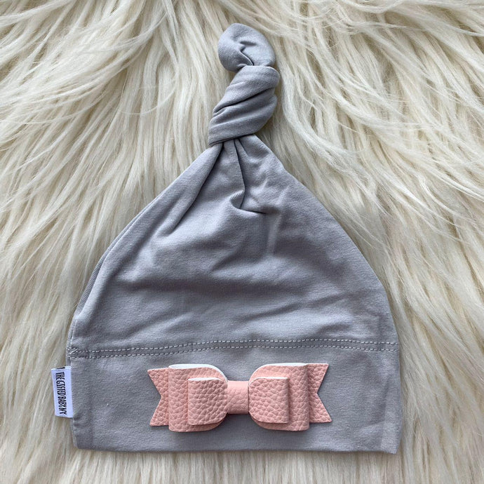 Light Gray Hat Pink Leather Bow - The Gifted Baby NY