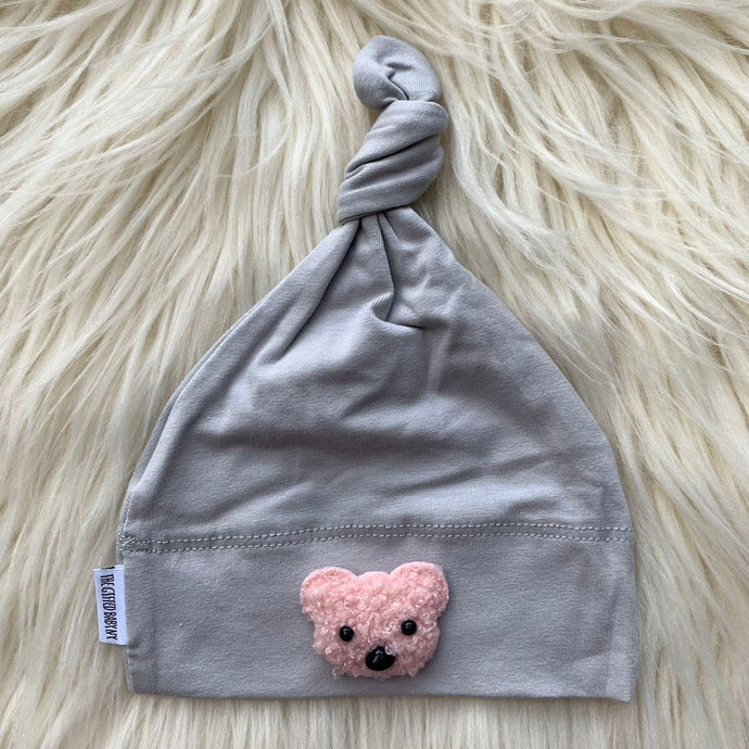 Light Gray Hat Pink Teddy - The Gifted Baby NY