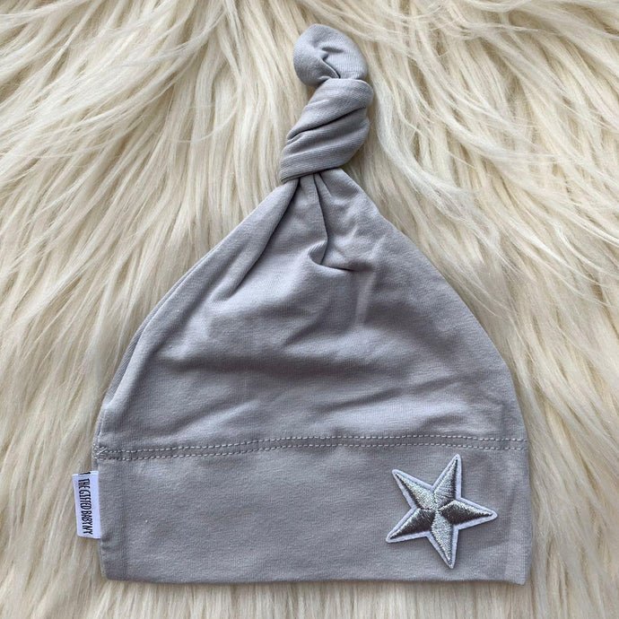 Light Gray Hat Silver Star - The Gifted Baby NY