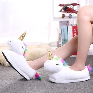 2018 Winter Warm Indoor Slippers Cute Cartoon Plush Unicorn Slippers