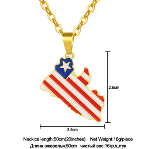 Liberia Country Map & Flag Pendant Necklace