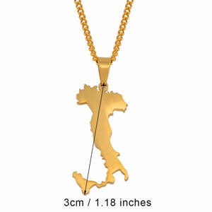 Italy Map Pendant Necklaces for Gift