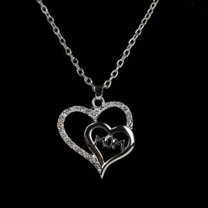 Mother's Day Gift - Double Heart Crystal  Necklace