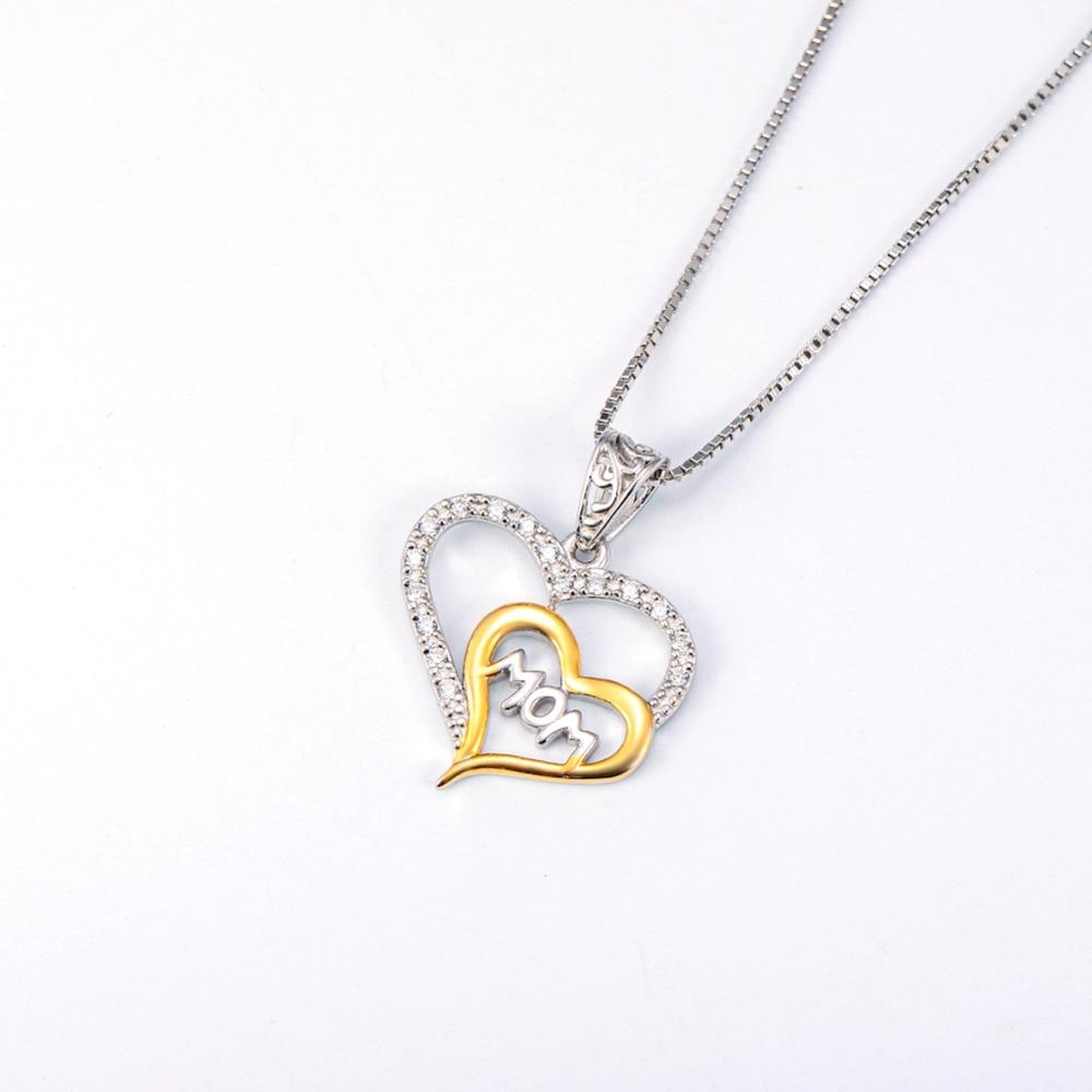Mother's Day Gift - Double Love Heart With Letter Mom Crystal Gold Necklace