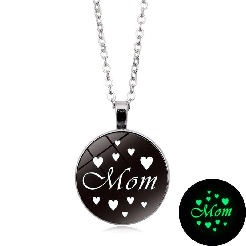 Mother's Day Gift -Glow In The Dark Mom Cabochon Glass Necklace