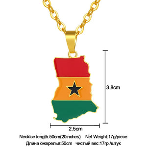 Ghana Map & Flag Pendant Necklace