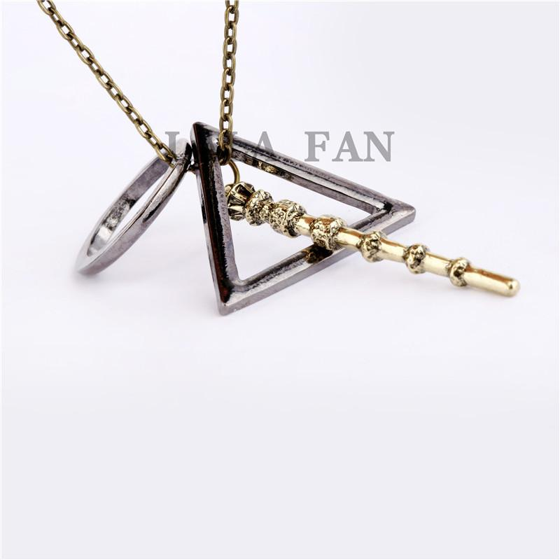 New Arrival Harry Poter Deathly Hallow With Magic Wand Pendant Necklaces