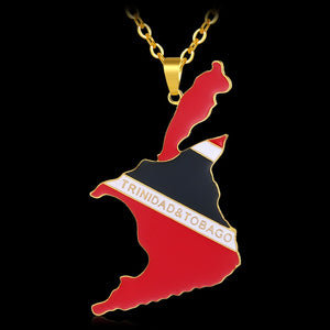 Trinidad and Tobago Map & Flag Necklaces