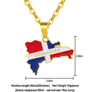 Dominican Map And Flag Pendant Necklaces