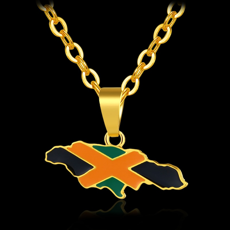 Jamaica Map and National Flag Pendant Necklaces