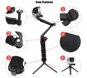 Gopro Accessories Tripod 3 Way Monopod Mount Extension Arm
