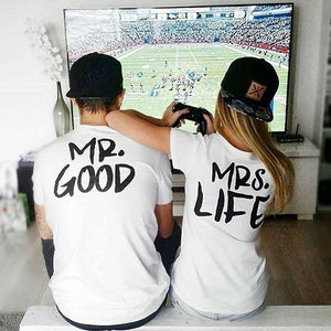 BKLD 2017 New Summer Funny Couple T Shirts mr good mrs life Letter Printed Cotton O-Neck Tees Short Sleeve Causal Couple Clothes
