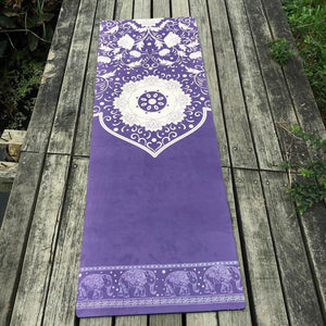 Hot Yoga mat  White flower suede skin Natural Rubber eco-friendly slip-resistant