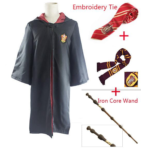 Harri Robe Cape with Tie Scarf Wand Glasses Ravenclaw/Gryffindor/Hufflepuff/Slytherin Potter Cosplay Costumes Hermione Suit