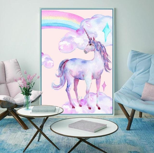 New Rainbow and Unicorn Poster - 2 Panel Painting Watercolor Print Canvas
