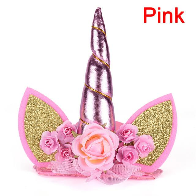 Glitter Unicorn Horn with Chiffon Flowers Hair Hoop Party For kids