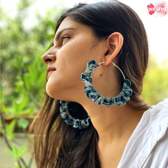 Shibori Motif Hoop Earrings