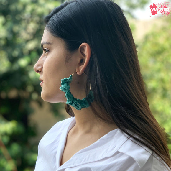 Green Chanderi Hoop Earrings