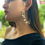 Gold Brocade Hoop Earrings