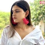 Pink Ruffled Hoop Earrings