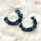 Blue and White Hoop Earrings