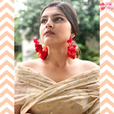 Rani Pink Brocade Hoop Earrings