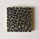 Hand-painted Black Leaf Motif Coasters