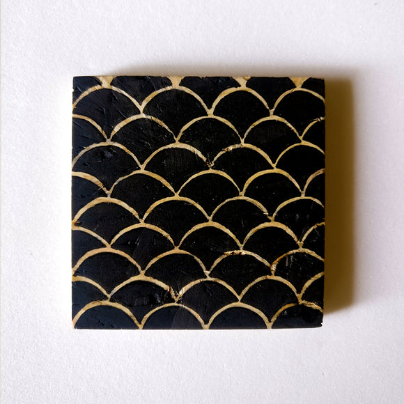 Hand-painted Black Aztec Coasters