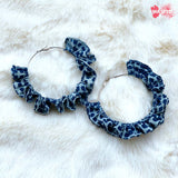 Blue Shibori Hoop Earrings