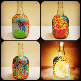 Mosaic style bottle lamp / flower vase