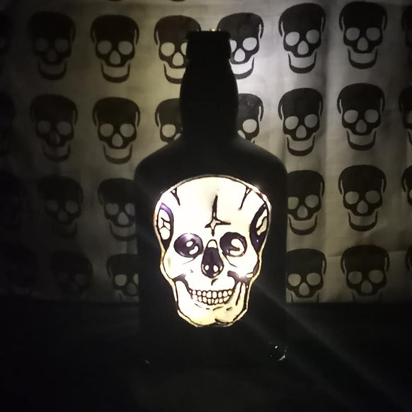 Skull bottle lamp