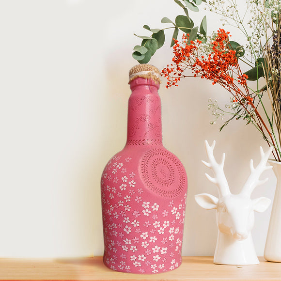 Pink Floral Recycled Bottle Lamp